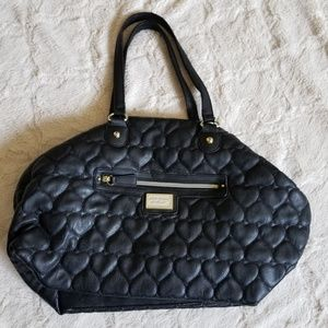 Betsy Johnson Black Quilted Heart Bag